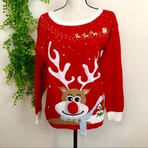 Sweaters - Ugly Christmas Sweater Rudolph 3D Scarf & Bells